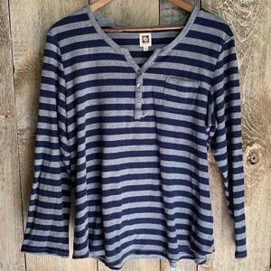 Anne Klein Blue Striped 1/4 button long sleeved
